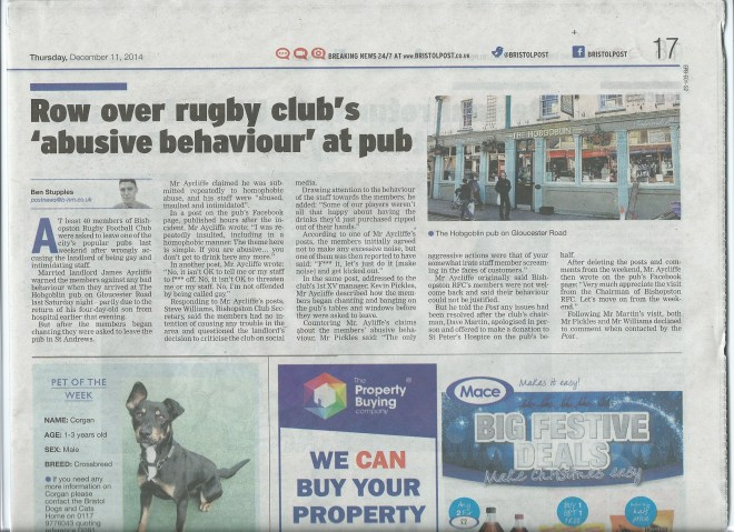 Bristol Post - Bishopston RFC
